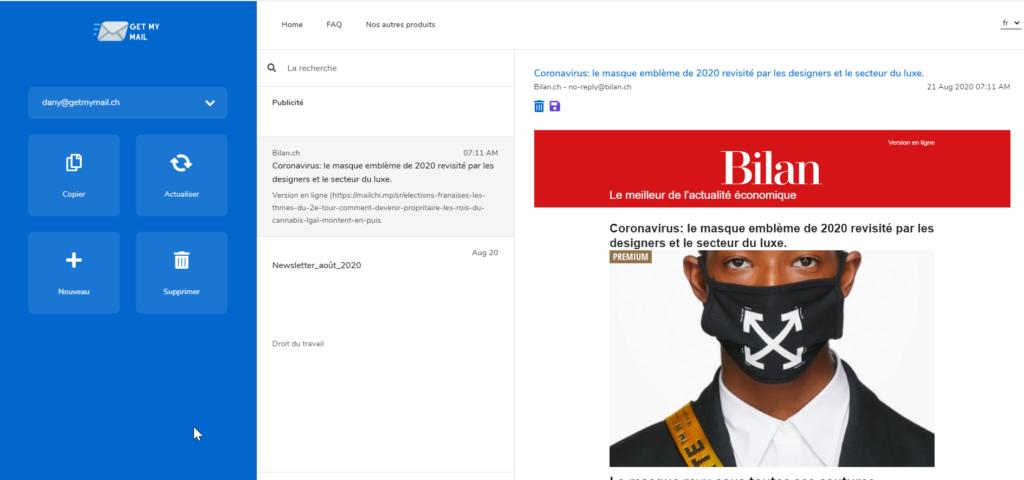 Capture d'écran du site GetMyMail
